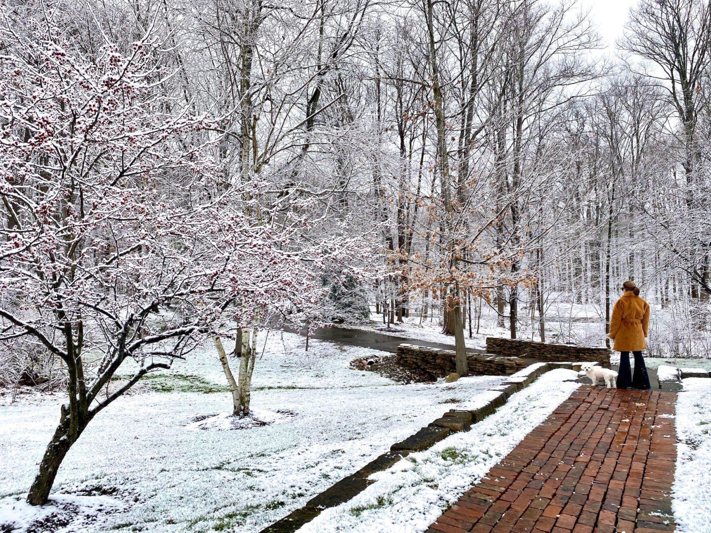 Loretta in coat, snowy day in Ohio