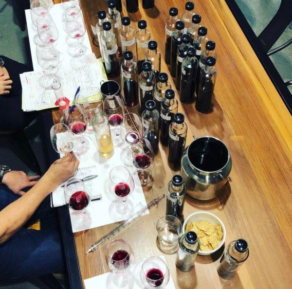 blending samples on table