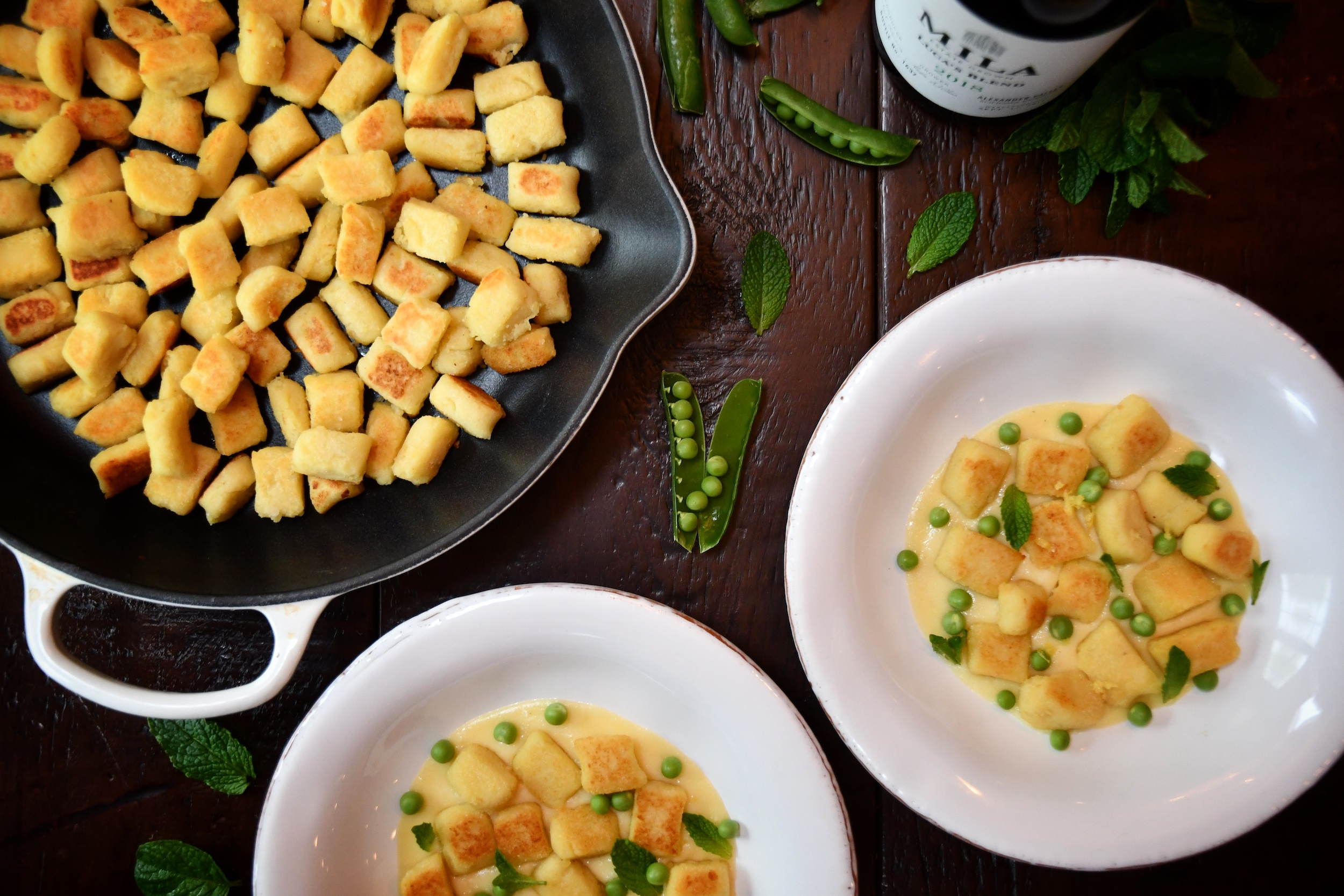 Gnocchi in pan and dishes