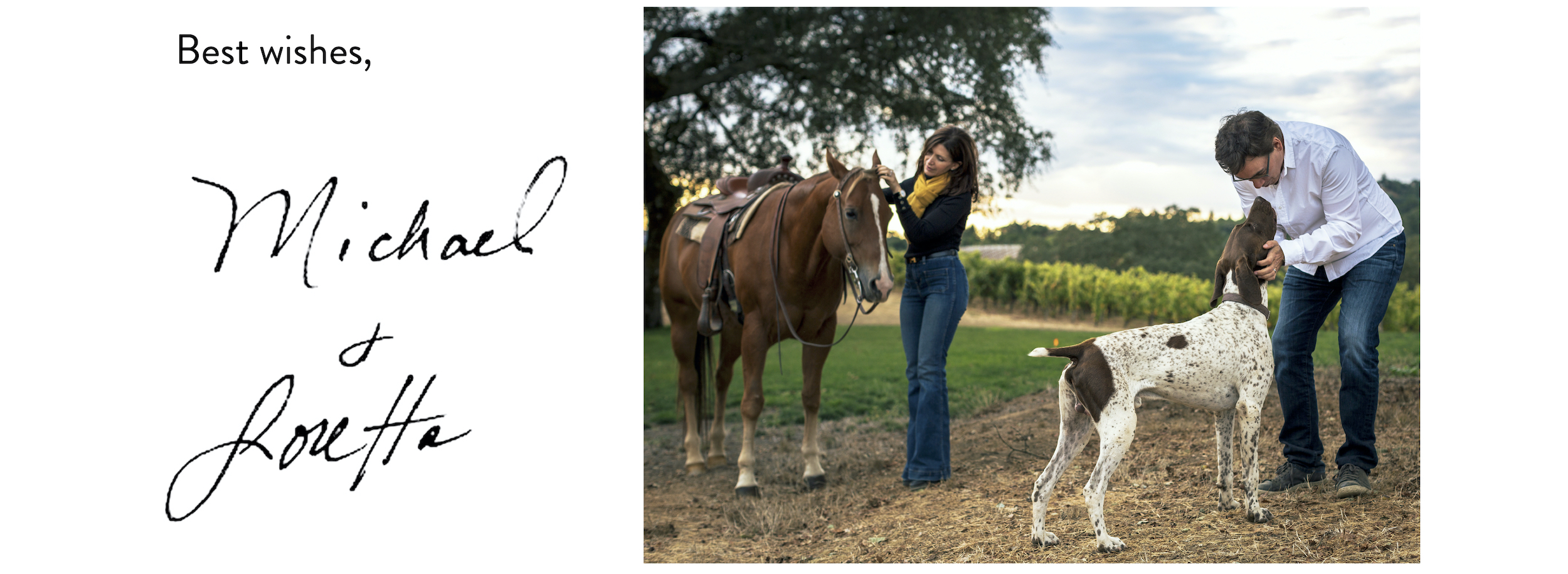 signature, with L & M goofing off with dog & horse